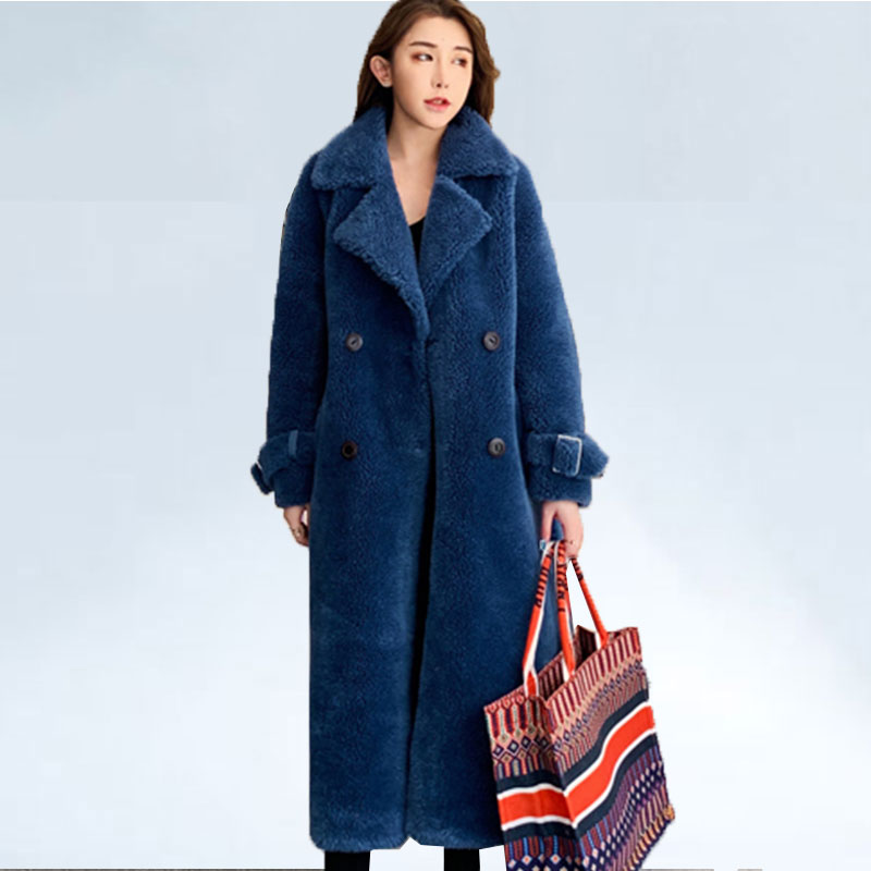 Abrigos Mujer Invierno 2019 Natural Sheep Fur Coat Wool Coat Winter Jacket Women Casual Parka X-Long Overcoat With Sashes Female