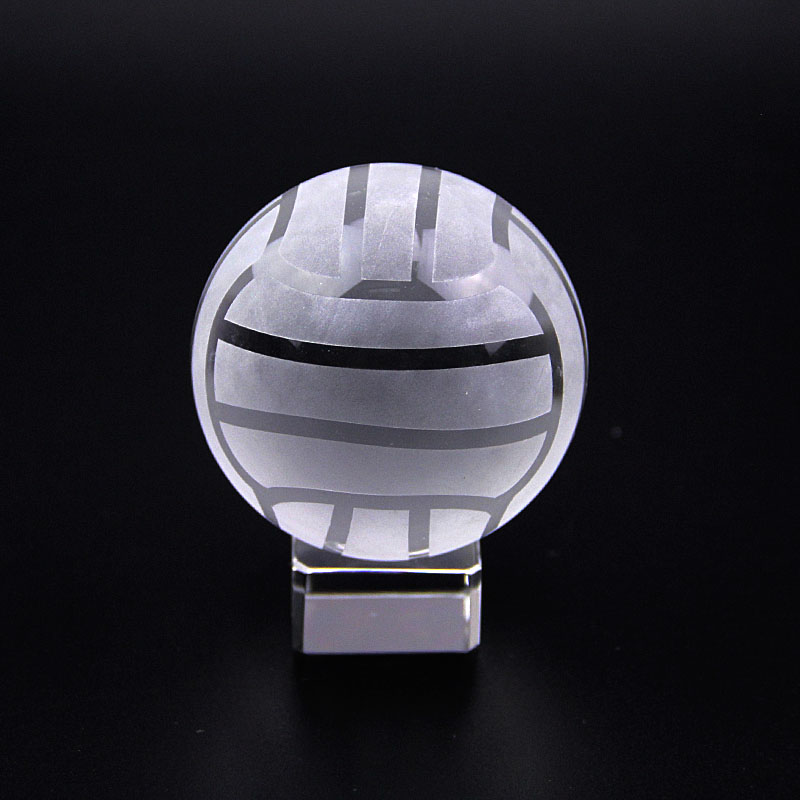 Athletic Sports Souvenir Crystal Ball Glass Sphere with Stand Miniature Ornament Ball Grounding Crystal Globe Paperweight