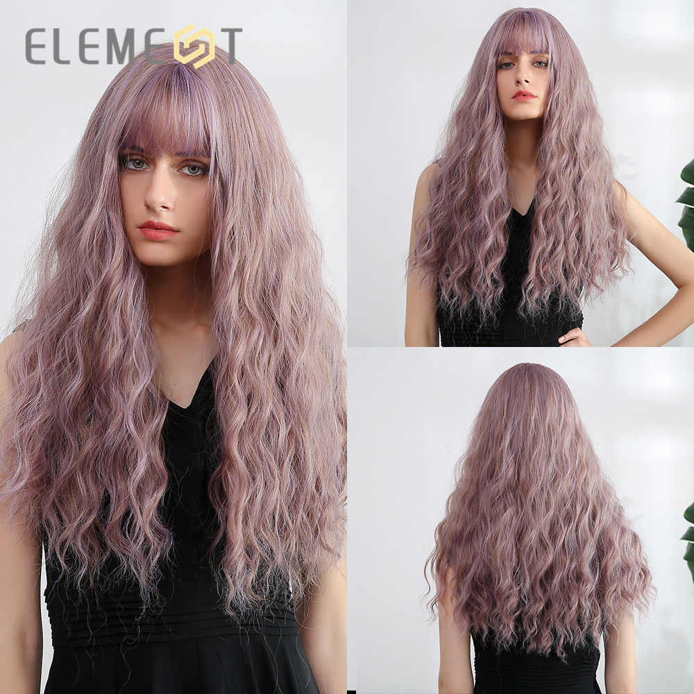 Element  Womens Long Hair Wigs With Bangs Water Wave Heat Resistant Synthetic Cosplay Wig For Women African American 4 Colors