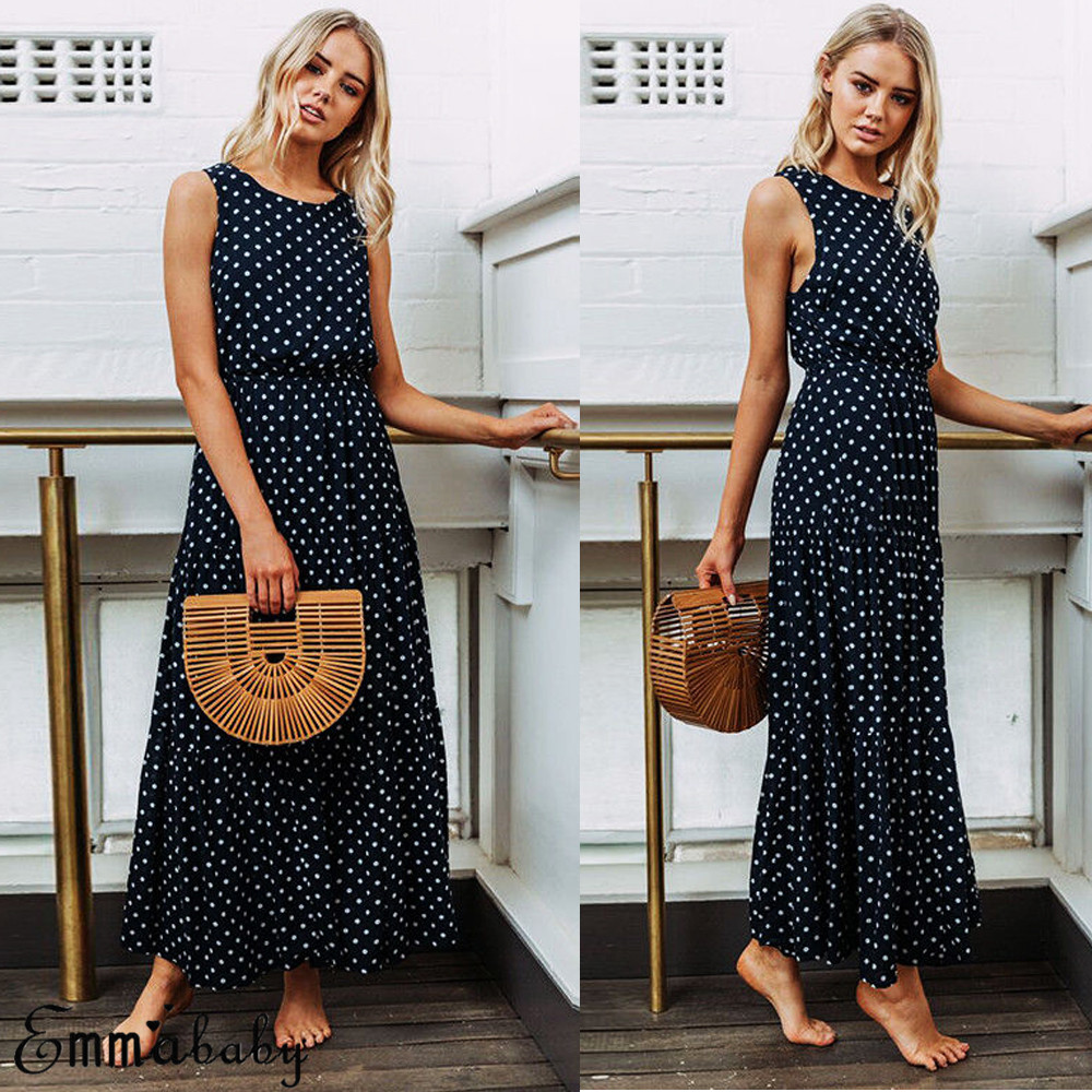 H1a6d5af3d4f946c5a1eefb907990cdae8 2019 Bobo Women Dark Blue Boho Loose Sleeveless Holiday Dot Print Long Maxi Dress Evening Party Beach Dresses Summer Sundress