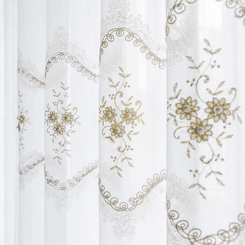European Floral Embroidered Sheer Curtains For Bedroom Pearl Delicate Lace Bottom French Window Drapes Cortina M200C