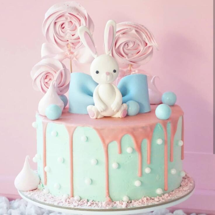 Sensational Pink White Rabbit Cake Topper Girl Birthday Cake Decoration Funny Birthday Cards Online Eattedamsfinfo