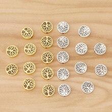 50 peças de ouro antigo/cor prata vida árvore espaçador contas encantos para diy pulseira jóias fazendo acessórios 9mm
