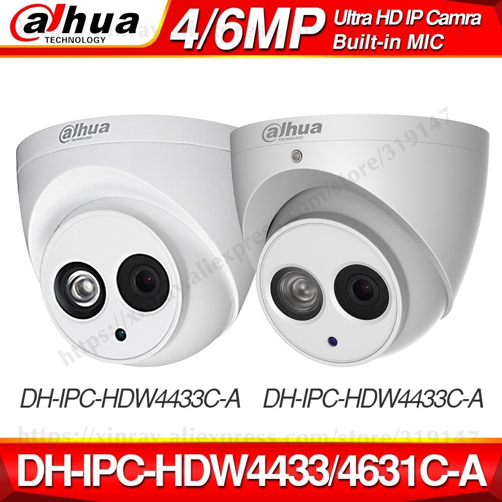 Dahua IPC-HDW4433C-A IPC-HDW4631C-A 4MP 6MP réseau IP caméra CCTV POE CCTV sécurité intégré micro 30M IR WDR H.265 Onvif