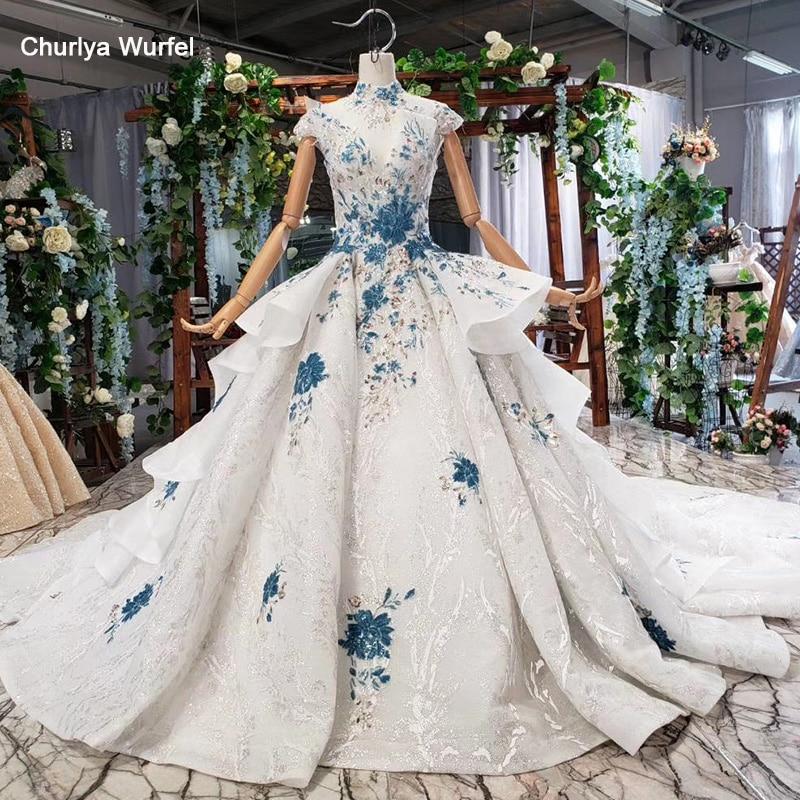 HTL792 Wedding Dresses With Blue Flowers Ball Gown Skirt Pattern High Neck Wedding Gowns For Bride будуарное платье кружевное