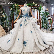 HTL792 wedding dresses with blue flowers ball gown skirt pattern high neck wedding gowns for bride будуарное платье кружевное(China)