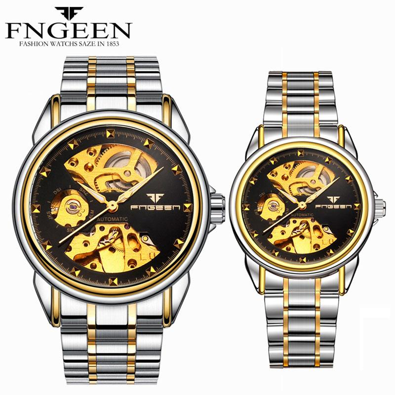 FNGEEN Couple Watch 2020 Luxury Brand Automatic Mechanical Watch Stainless Steel Waterproof Skeleton Men's Watch Tourbillon
