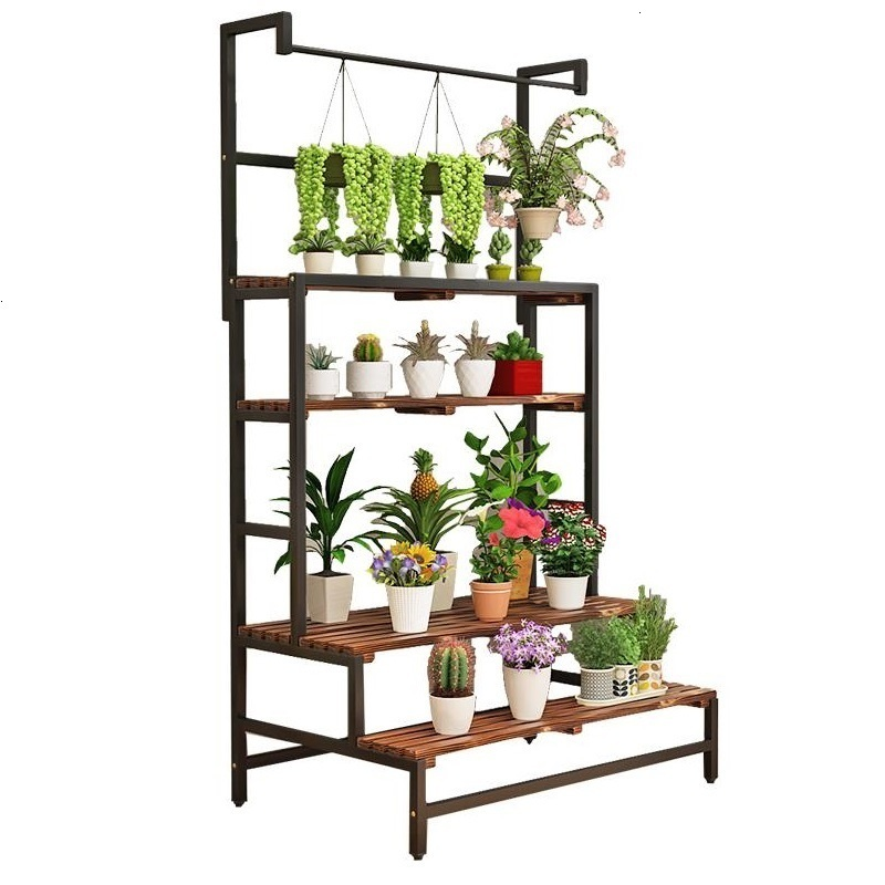 Etagere Plante Garden Shelves For Indoor Jardin Estanteria Para Macetas Wood Balcony Outdoor Stand Flower Dekoration Plant Shelf