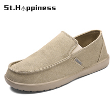 2021 Summer New Men's Canvas Boat Shoes Breathable Fashion Casual Soft Driving Shoes Lightweigh Slip-On Loafers Big Size Hot