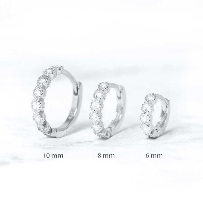 Pendientes de aro de circonita cúbica de Plata de Ley 925 de 6mm/8mm para mujer, pendientes redondos pequeños de oro/oro rosa/plata, joyería de moda