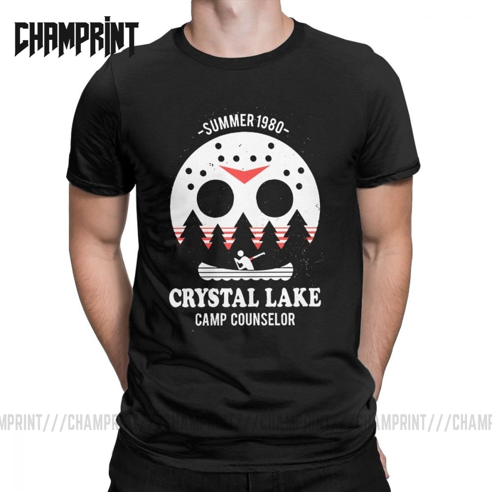 Men's Crystal Lake Camp Counselor T Shirt The 13 Friday Jason Horror 13Th 100% Cotton Clothes Short Sleeve Tee Big Size T-Shirts image