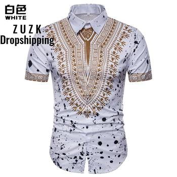 ZUZK Fashion Shirt Men  Africa Style Printed Short Sleeved Summer Casual Slim