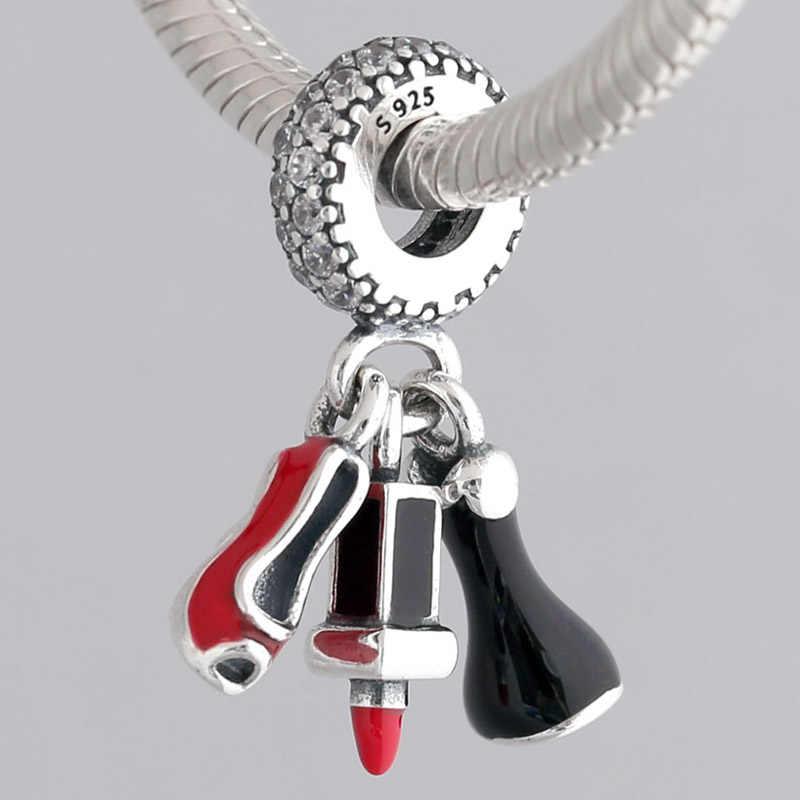 מקורי שפתון שמלת פגיון עם אמייל תליון חרוז Fit 925 סטרלינג כסף חרוז קסם פנדורה צמיד צמיד Diy תכשיטים