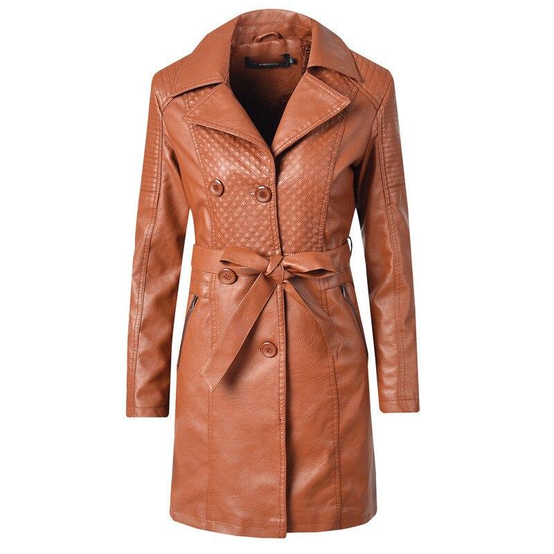 Women faux   leather   coat black beige loose PU jacket 019 autumn winter new long sleeve lapel fashion long faux   leather   coat JD671