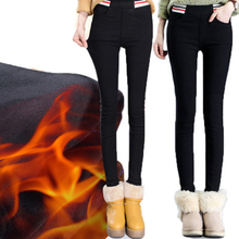 Plus Velvet Thickening Outer Wear Leggings Ladies Black Trousers Feet Pencil Pants Warm Winter