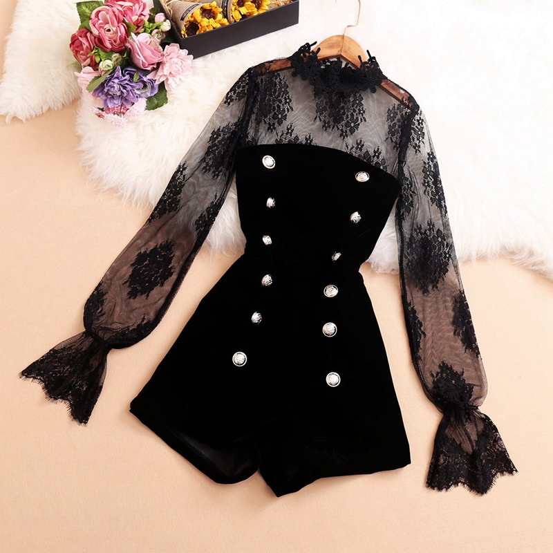 Retro British Style Suit Female 2019 New Sexy Sheer Mesh Lace Shirt And Strapless Velvet Jumpsuit Two Pieces Sets Fashion