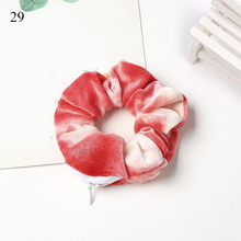 Women Velvet Rubber Band Hair Band With Zipper Soft Elastic Hair Scrunchie Ponytail Holder Hair Ring Girl Headwear Accessories