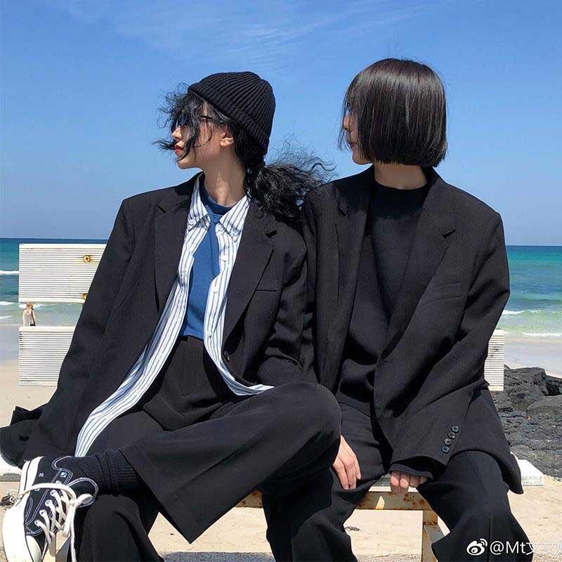 NiceMix Vintage Double Breasted Office Ladies Solid Blazer Long Sleeve Loose Houndstooth Suit Coat Jacket Women Blazers Female