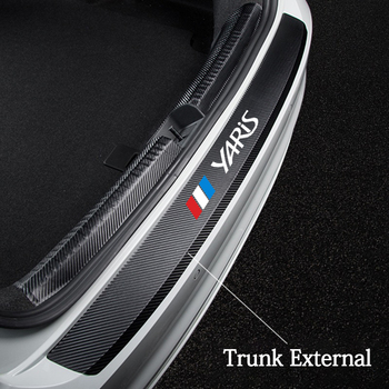 Car Rear Bumper Decorative leather Stickers for Toyota Yaris 2019 2018 2017 car Trunk Protection Plate Tail Lip Protective Film car body kits plastic rear bumper foot plate car sticker for toyota vios 2017