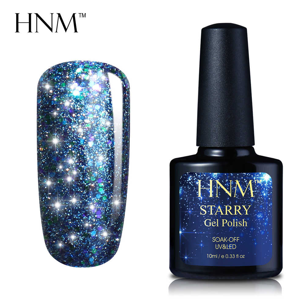HNM Starry Bling UV Nagel Gel Polnischen Lacke Semi Permanent Stanzen Hybrid Lack Vernis Emaille Gellack Basis Top Mantel 10ML