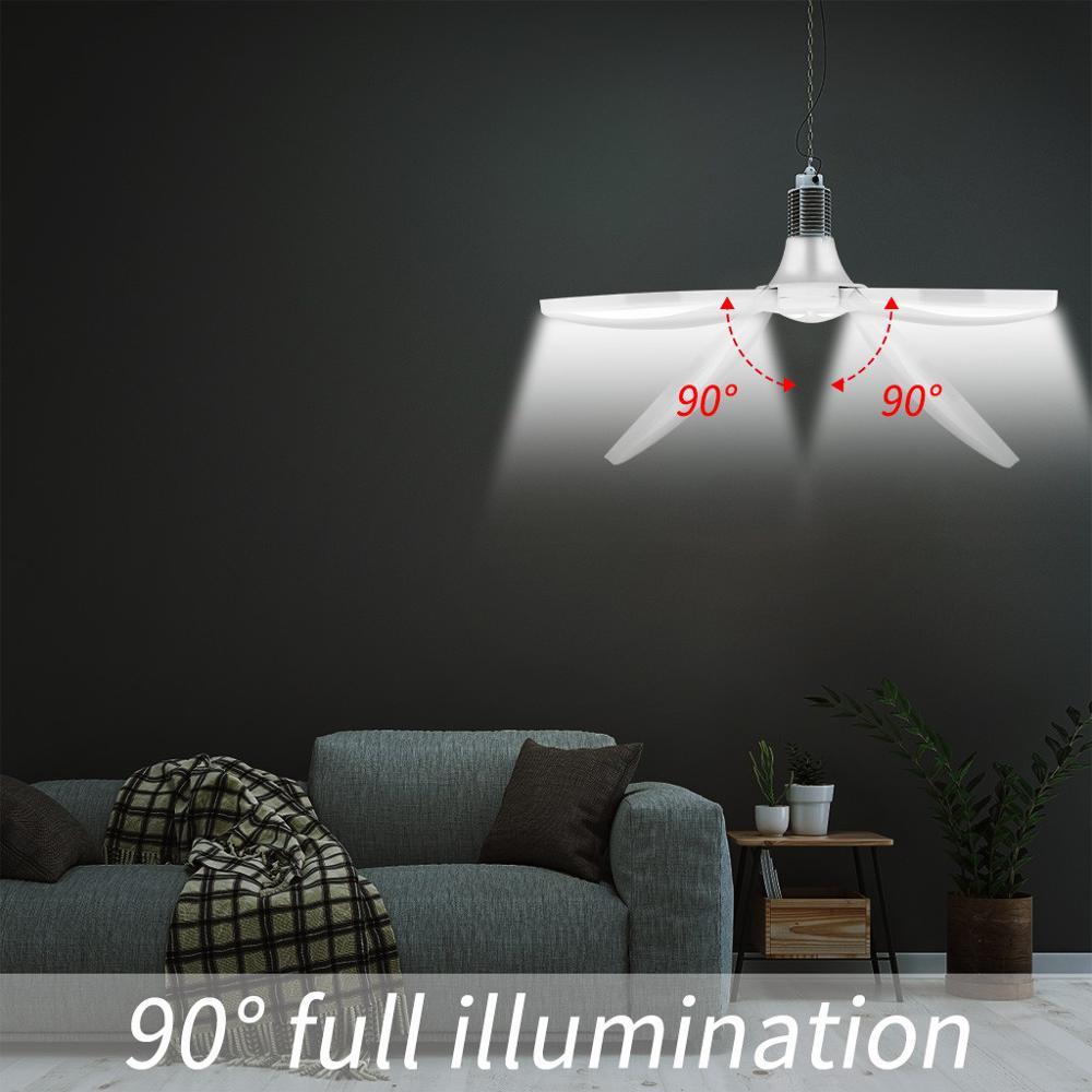 LED Garage Shop Work Lights 60W 5400lm E27 Home Ceiling Fixture Deformable Lamp