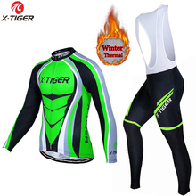 Men's long sleeve thermal fleece cycling jersey