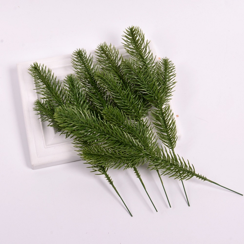 10Pcs Artificial Flower Green Pine Needle For Wedding Christmas Decoration DIY Craft Gift Xmas Tree Decor Fake Plant Scrapbook