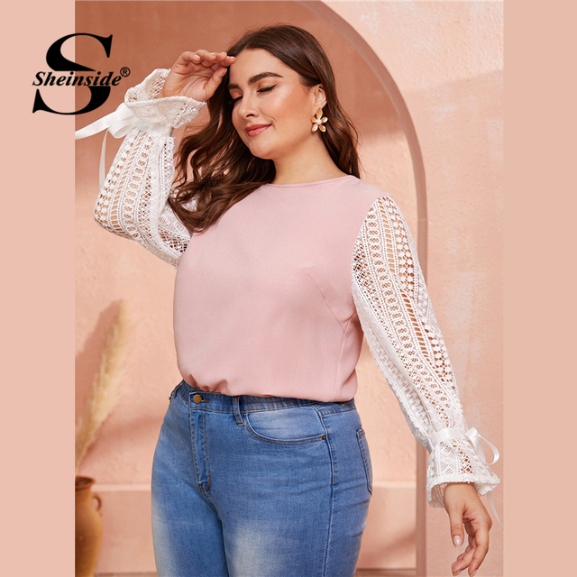 Sheinside Plus Size Elegant Two Tone Guipure Lace Blouse Women 2019 Autumn Lace Up Flounce Sleeve Blouses Ladies Pink Top
