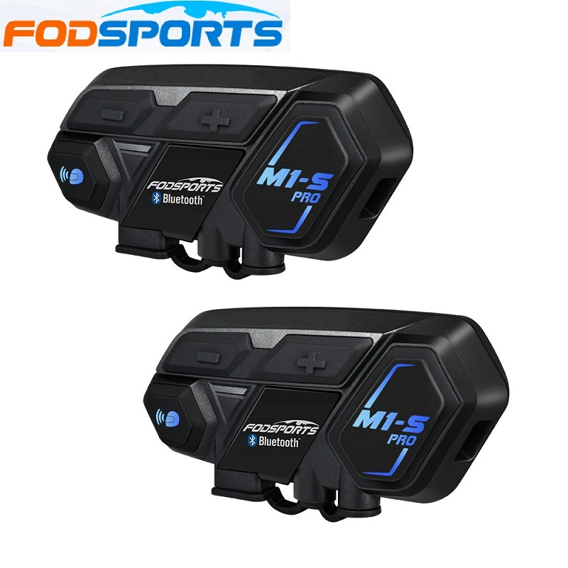 Fodsports 2 stücke M1-S Pro Motorrad Helm Intercom 8 Reiter Helm Bluetooth Headset Wasserdichte Intercomunicador Moto Sprech