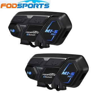 Fodsports 2 pcs M1-S Pro Motorcycle Helmet Intercom 8 Rider Helmet Bluetooth Headset Waterproof Intercomunicador Moto Interphone lexin newest b2 motorcycle intercomunicador moto bt wireless interphone bluetooth helmet headsets for rider and passenger