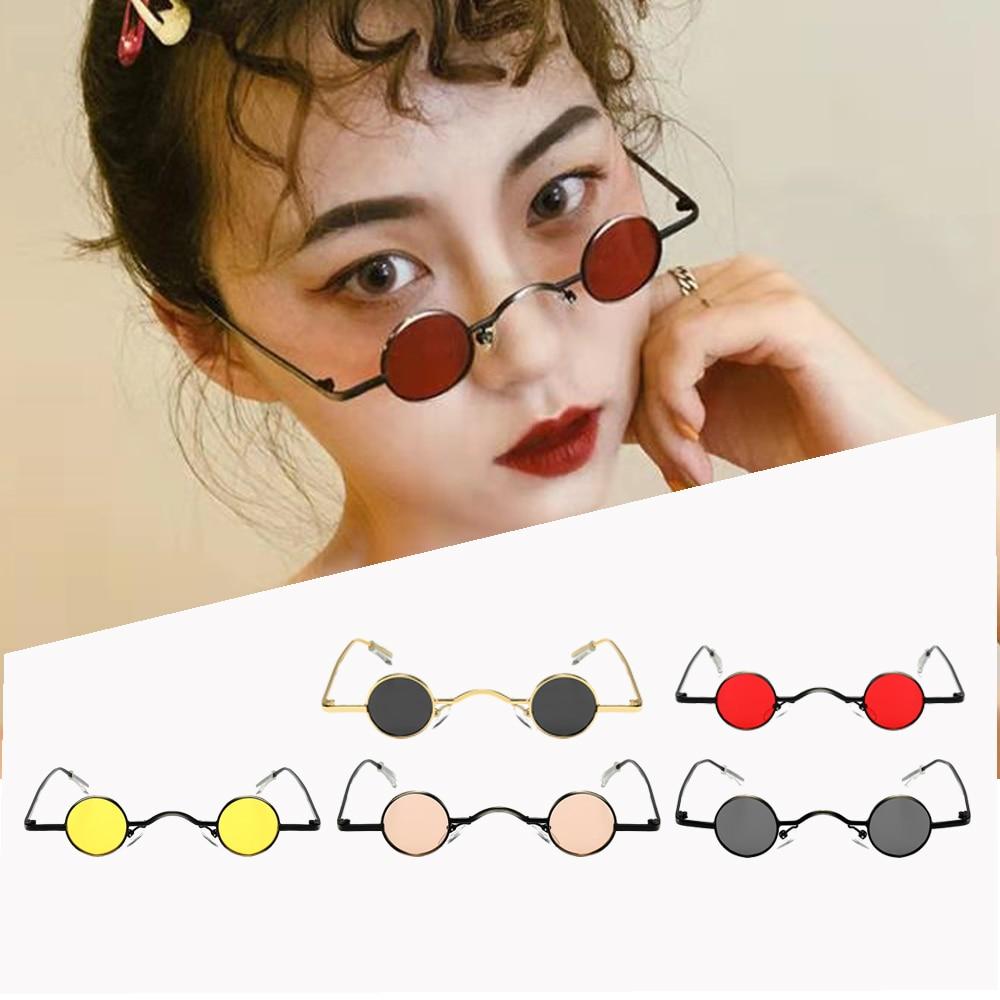 Новинка 2021, модные солнцезащитные очки в стиле ретро с мини-линзами, круглые мужские и женские очки в металлической оправе, золотые, черные, ...