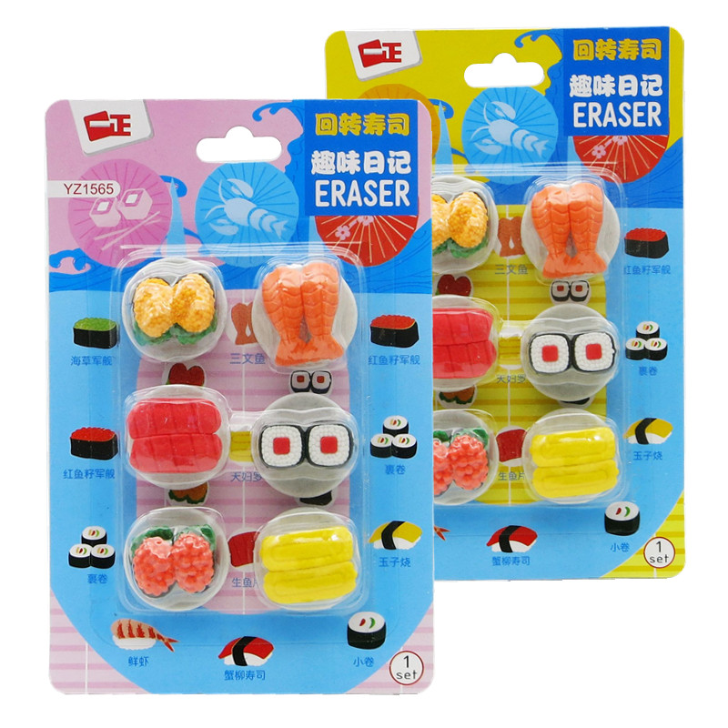 6 Pcs/pack Cartoon Mini Food Animal Sushi Rubber Pencil Erasers Office School Stationery Kids Prize Writing Drawing Student Gift