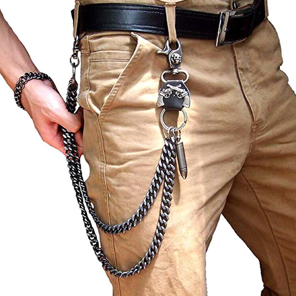 Mens Hip Top Punk Rock Pants Trousers Jeans Waist Wallet Skull Metal Chains Men's Two Strands Biker Link Key Chain