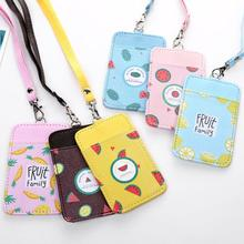 Fruit-Card-Holder Key-Chain Lanyard Identity Badge Neck-Strap Cute with PU