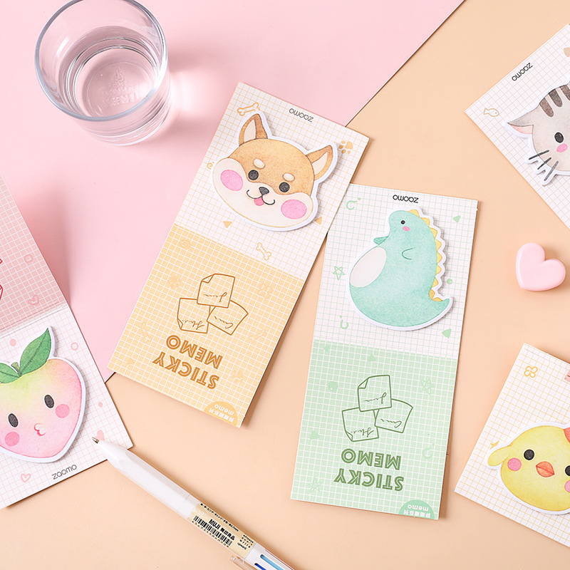 Kawaii Fat Doodle Series Cat Peach Dinosaur N Times Memo Pad Sticky Notes Page Flag Bookmark School Office Supply Stationery