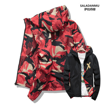 Men Jacket Coats Male Casual Hooded Camouflage Jacket Thin Double-sided Outwear Spring Autumn Bomber Jackets plus size S-4XL 3XL