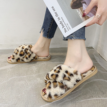 Sexy Leopard Slippers Women Warm Fluffy 2019 New Winter Home Cute Furry Pink Brown