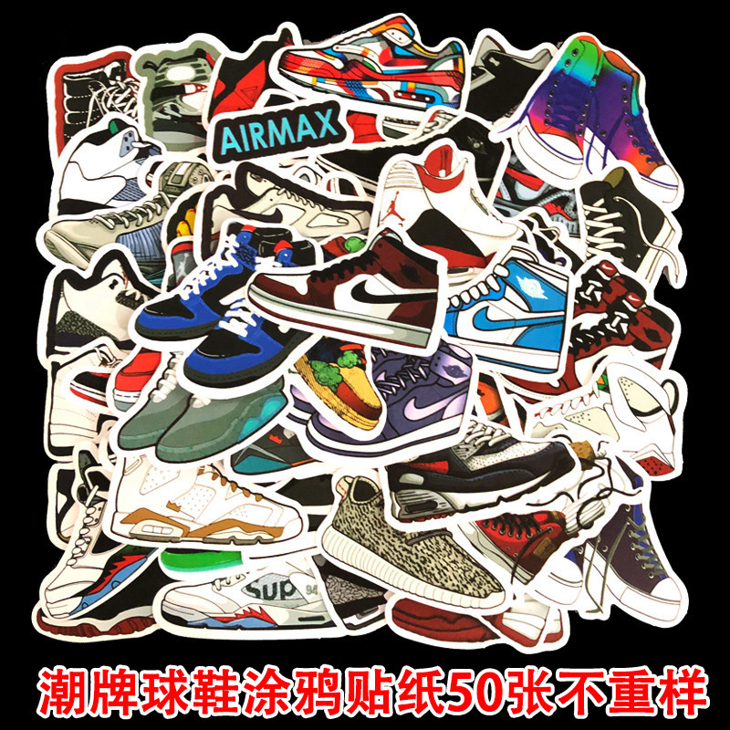 50 Pcs/Lot Naklejki Kawaii School Viscous Notes Papelaria Tide Sports Shoes Stationery Stickers Waterproof Removable TZ083G