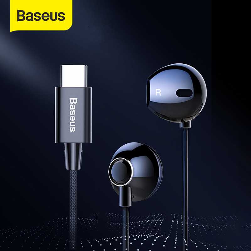 Baseus C06 USB Type-c Earphone Stereo Sound Earbuds Wired Control With Mic For Xiaomi Mi 9 8 Note 3 For Huawei Mate 20 Pro P20