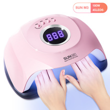 180W SUN M3 Pro Nail Dryer LCD Display 45 LED Two Hand Nail Lamp UV LED Lamp for Curing Gel Polish Auto Sensing Lamp For Nails