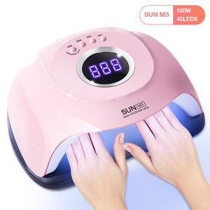 Image 1 - 180W SUN M3 Pro Nail Dryer LCD Display 45 LED Two Hand Nail Lamp UV LED Lamp for Curing Gel Polish Auto Sensing Lamp For Nails