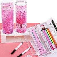 Caixa de papelaria de areia movediça transparente caixa de lápis cilíndrico multi função caneta caso portátil dq gota|  -