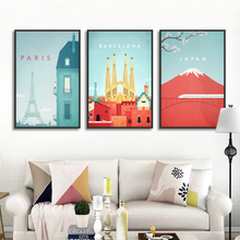 Bedroom Decoration Wall Art Picture Travel Landscape Poster and Prints Abstract Watercolor Japan Paris City View Canvas Painting