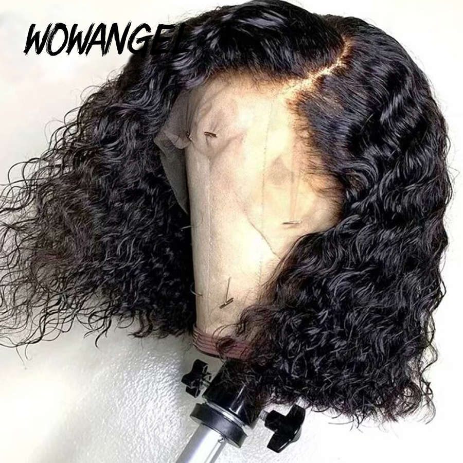 Lace Closure Cut Wigs Lace Front Wig Short Curly Bob 13*6 Lace Front Human Hair Wig Pre Plucked Brazilian Bleached Knots