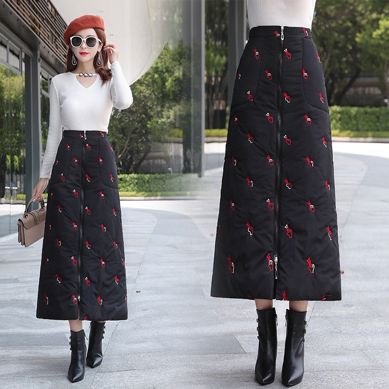 Autumn And Winter WOMEN'S Dress Down Feather Embroidered Skirt Winter Versatile Winter Thick Cotton Skirt Skirt