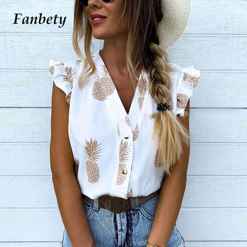 Fanbety Women Elegant Vacation Leisure Blouse Top Female Girls V Neck Sweet Shirt Pineapple Print Flutter Sleeve Blouse Shirts