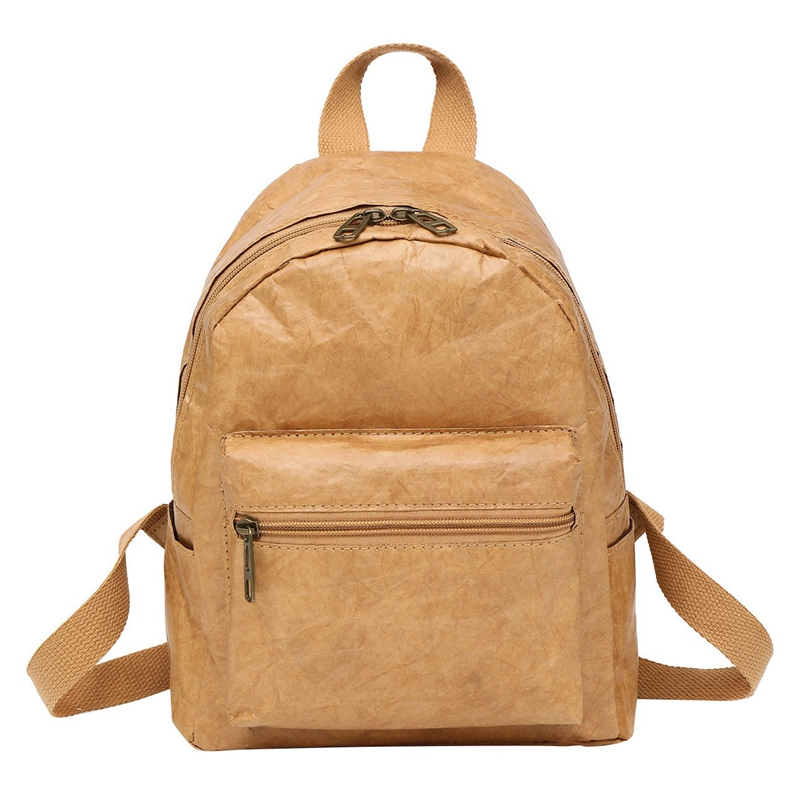 Unisex Backpack Kraft Paper Bag Foldable Decompressed Washable Tear-Resistant Environmental-Friendly Women & Male