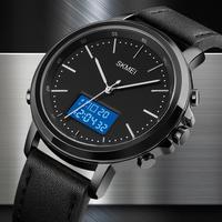 SKMEI-reloj electrónico deportivo minimalista para hombre, pulsera Digital con correa de cuero clásica, de negocios