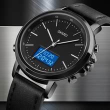 SKMEI мужские минимализм спортивные часы электронные мужские часы Топ бренд бизнес Винтаж Кожаный ремешок цифровые наручные часы мужские