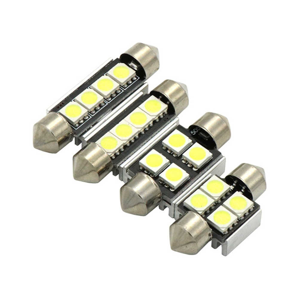 4Pcs 31/36/39/41mm 5050 SMD LED DC 12V Interior Car Dome Light Bulb License Lamp